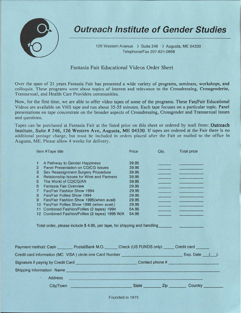 Download the full-sized PDF of Fantasia Fair Educational Videos Order Sheet