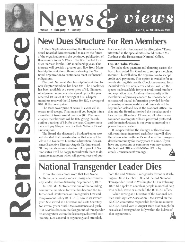 Download the full-sized PDF of Renaissance News & Views Vol. 11, No. 10 (October, 1997)