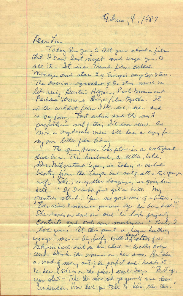 Download the full-sized PDF of Correspondence from Eldon Murray to Lou Sullivan (February 4, 1987)