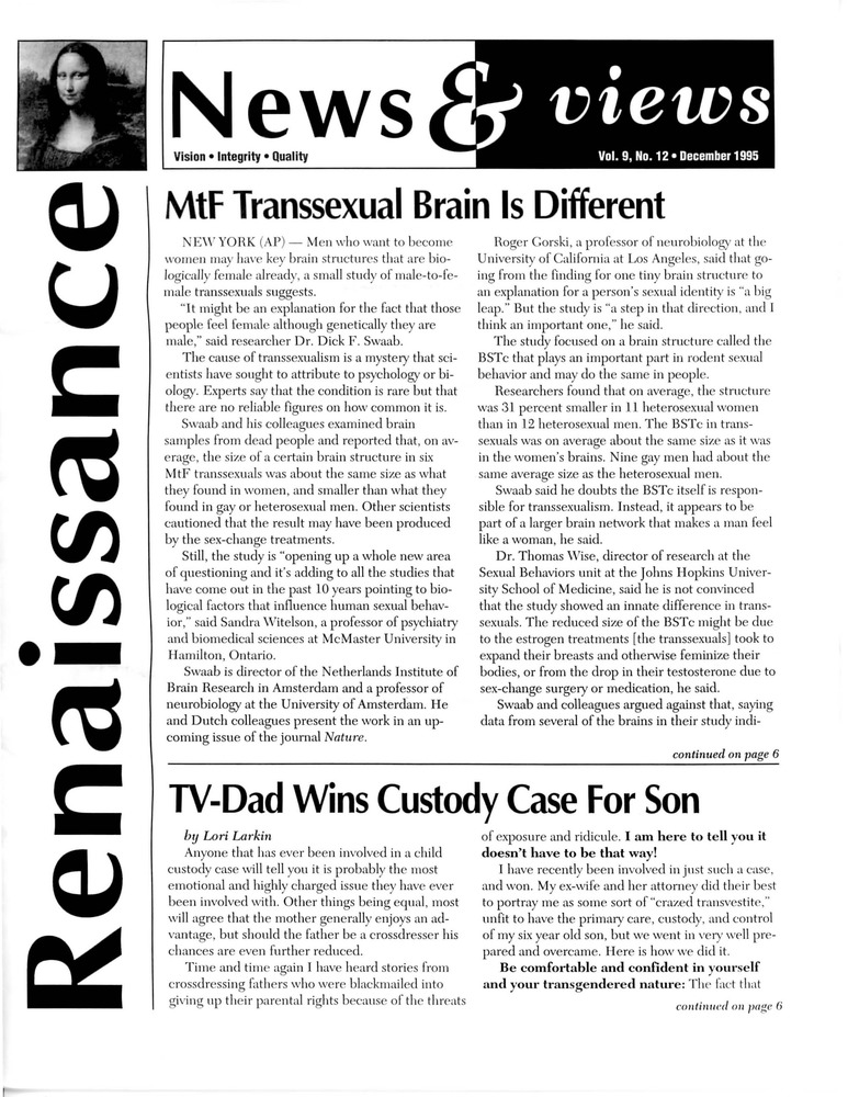 Download the full-sized PDF of Renaissance News & Views, Vol. 9 No. 12 (December 1995)