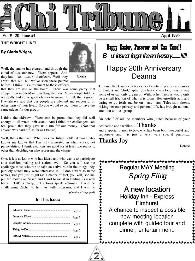 Download the full-sized PDF of The Chi Tribune Vol. 20 Iss. 04 (April, 1995)