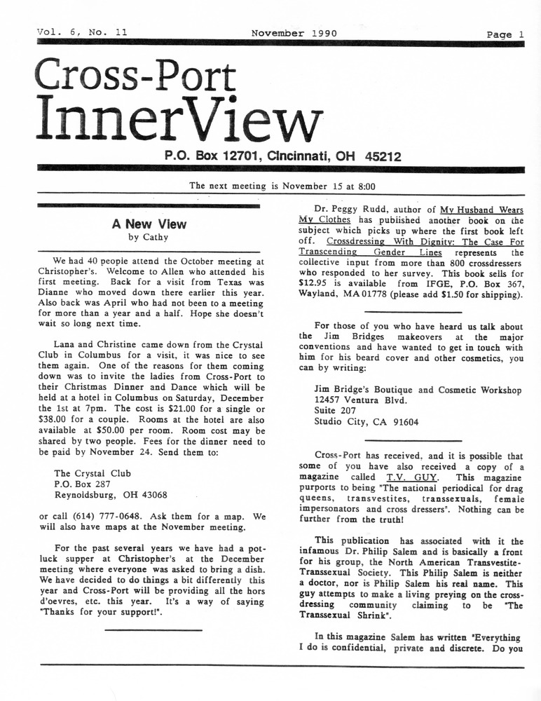 Download the full-sized PDF of Cross-Port InnerView, Vol. 6 No. 11 (November, 1990)