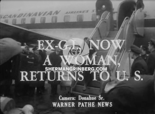 Download the full-sized image of Ex-G.I., Now a Woman, Returns to U.S.