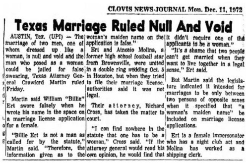 Download the full-sized image of Texas Marriage Ruled Null and Void