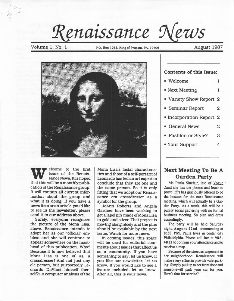 Download the full-sized PDF of Renaissance News, Vol. 1 No. 1 (August 1987)