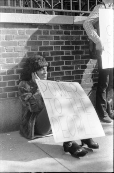 Download the full-sized image of Marsha P. Johnson at Gay Liberation Front's Demonstration at Bellevue Hospital, 1970