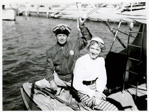 "Download the full-sized image of Christine Jorgensen and ""Frank"" Sit on a Boat"