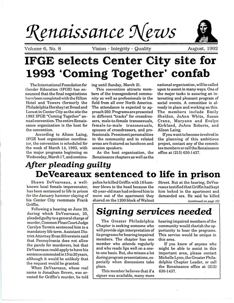 Download the full-sized PDF of Renaissance News, Vol. 6 No. 8 (August 1992)