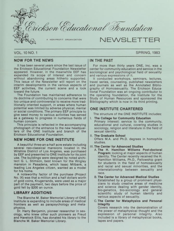 Download the full-sized image of Erickson Educational Foundation Newsletter, Vol. 10 No. 1 (Spring, 1983)