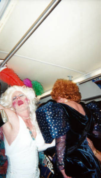 Download the full-sized image of Two Drag Queens on Bus for Indianapolis Bag Ladies AIDS Fundraiser