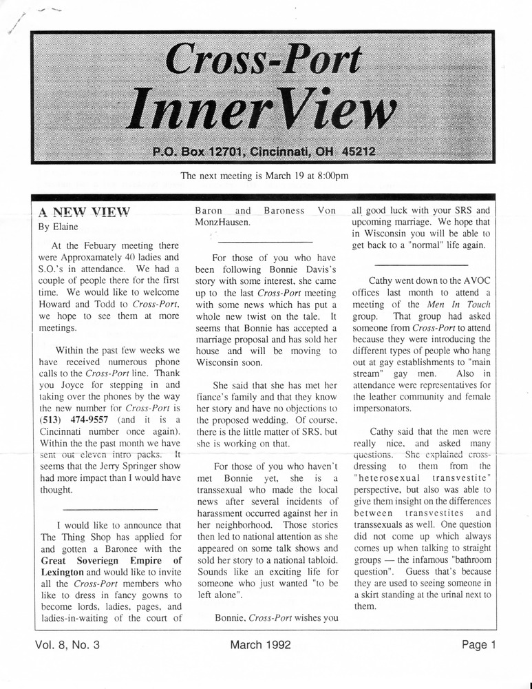 Download the full-sized PDF of Cross-Port InnerView, Vol. 8 No. 3 (March, 1992)