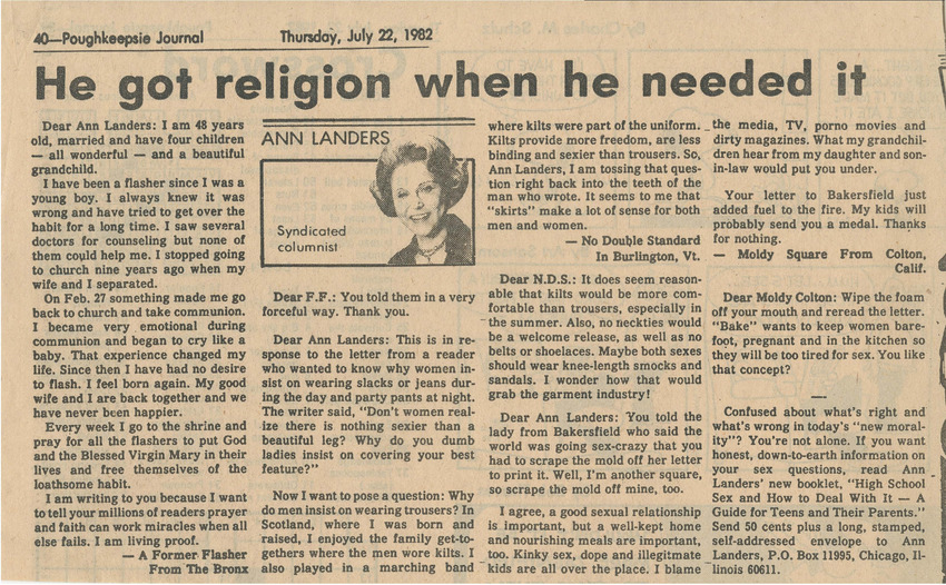 Download the full-sized PDF of He Got Religion When He Needed It (July 22, 1982)
