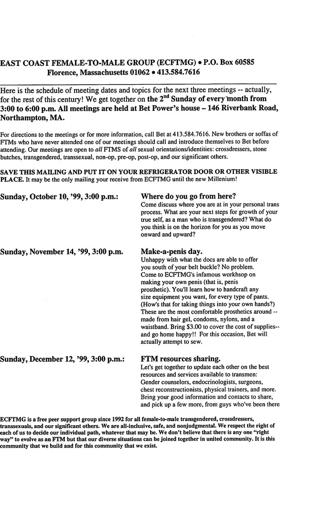 Download the full-sized PDF of October, 1999 - December, 1999 Meeting Reminder