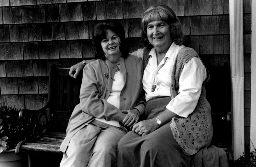 Download the full-sized image of Alison and Dottie Laing Pose on a Bench