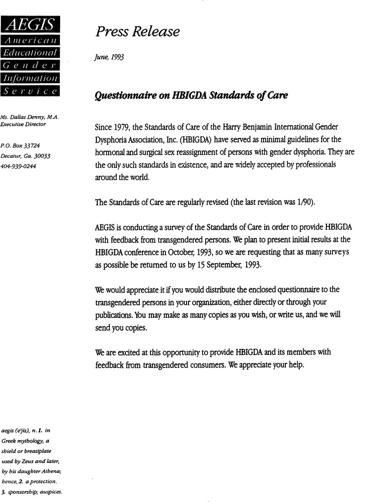 Download the full-sized PDF of Questionnaire on HBIGDA Standards of Care