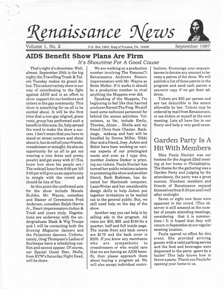 Download the full-sized PDF of Renaissance News, Vol. 1 No. 2 (September 1987)