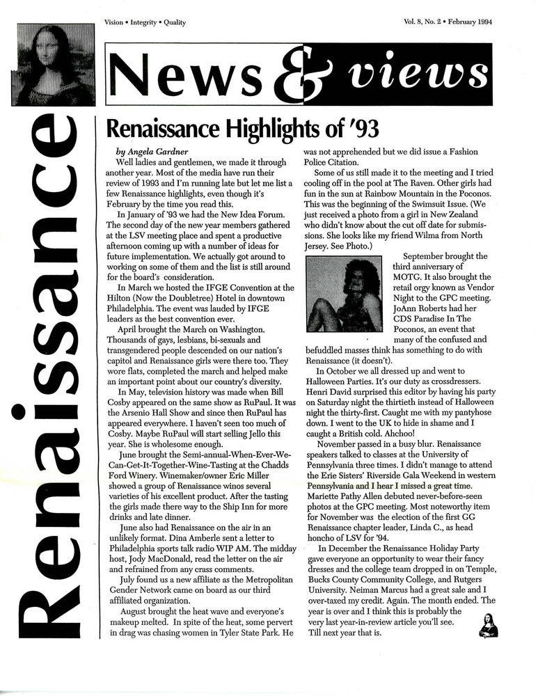 Download the full-sized PDF of Renaissance News & Views, Vol. 8 No. 2 (February 1994)
