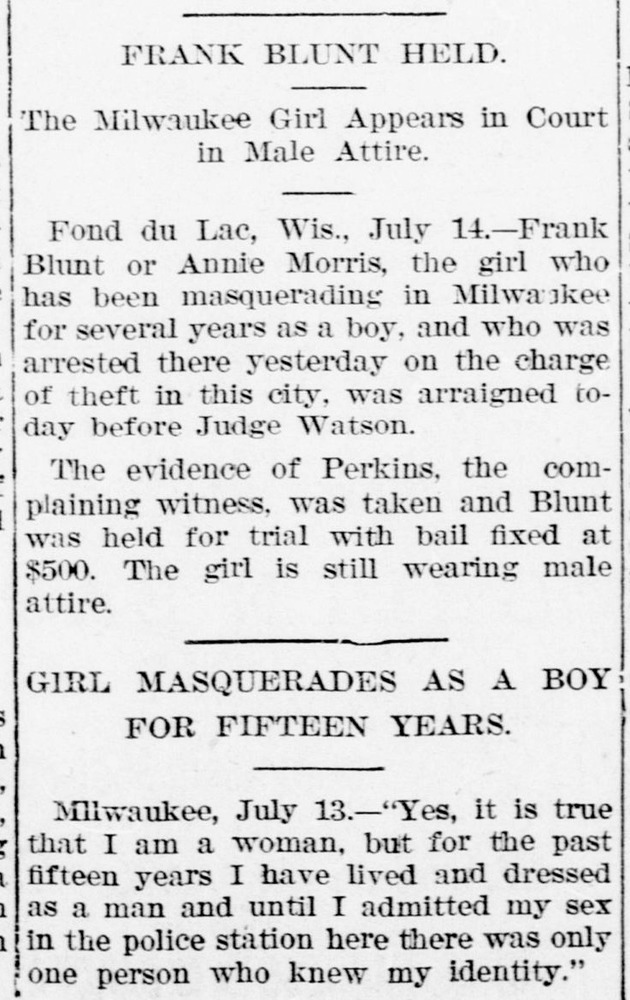 Download the full-sized PDF of The Milwaukee Girl Appears in Court in Male Attire