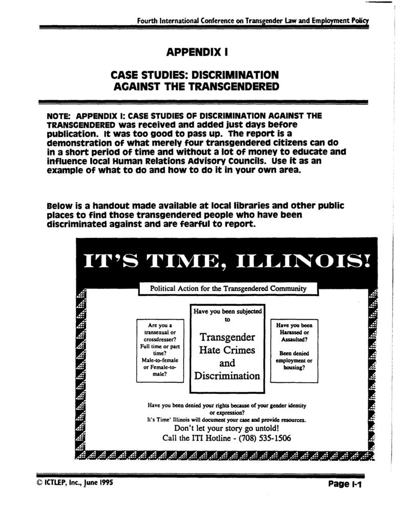 Download the full-sized PDF of Appendix I: Case Studies: Discrimination Against the Transgendered