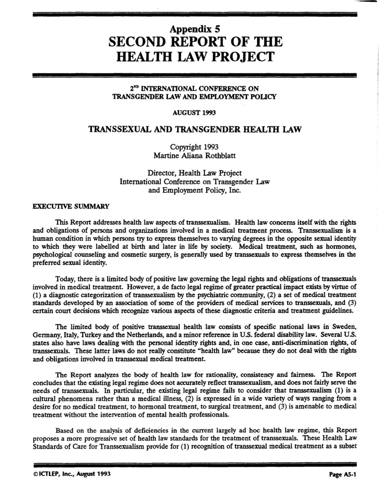 Download the full-sized PDF of Appendix 5: Second Report of the Health Law Project