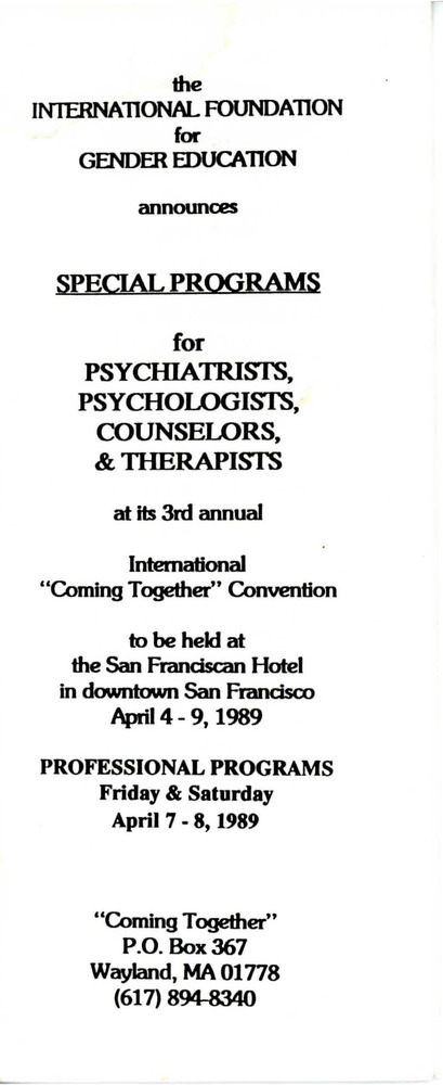 "Download the full-sized PDF of Brochure for IFGE's 3rd Annual ""Coming Together"" Convention (April 4-9, 1989)"