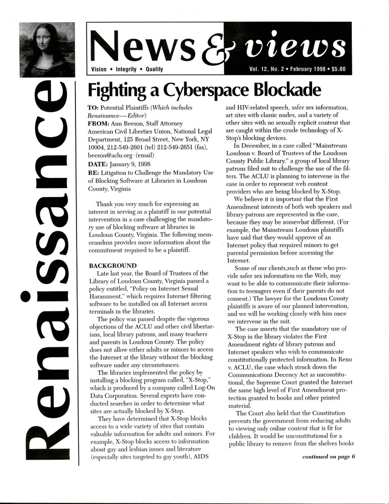 Download the full-sized PDF of Renaissance News & Views, Vol. 12 No. 2 (February 1998)