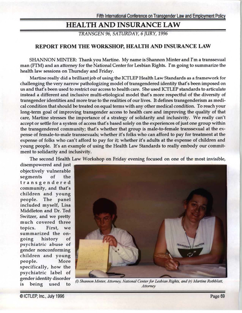 Download the full-sized PDF of Report from the Workshop, Health and Insurance Law