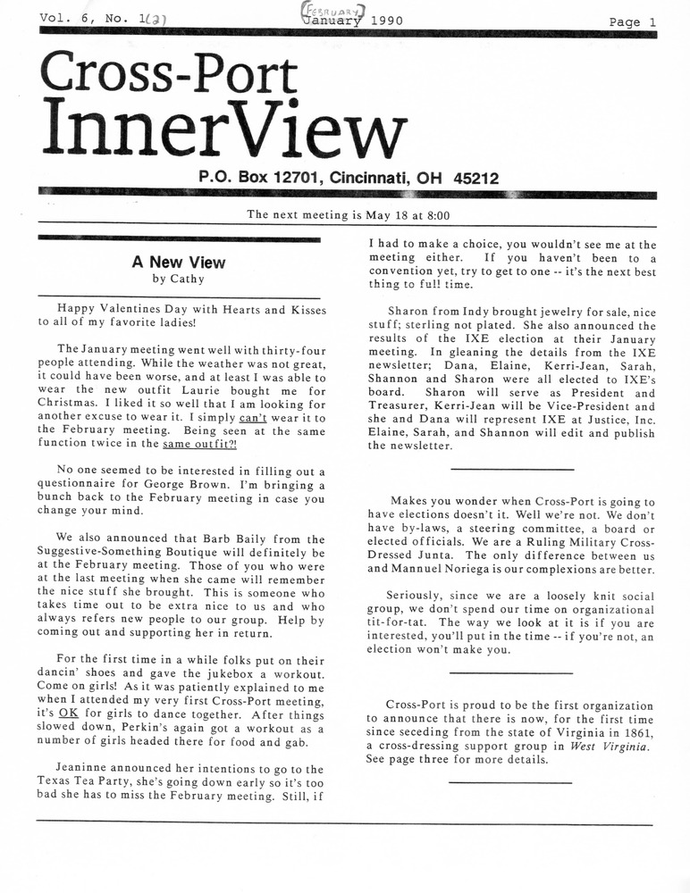 Download the full-sized PDF of Cross-Port InnerView, Vol. 6 No. 2 (February, 1990)