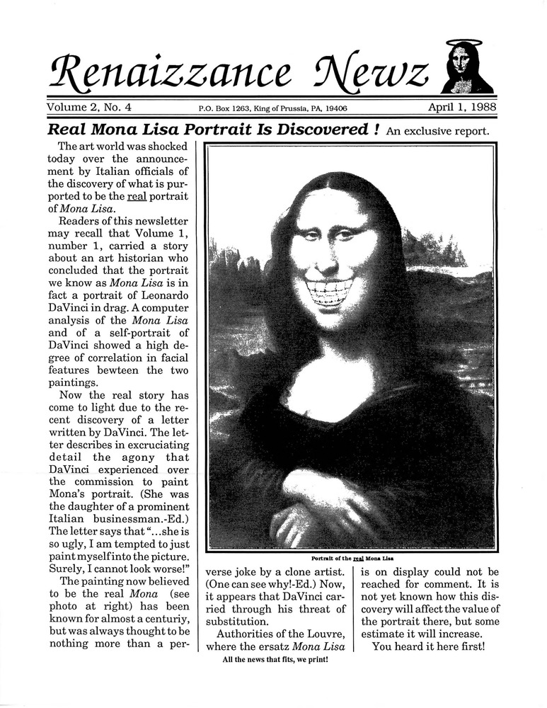 Download the full-sized PDF of Renaissance News, Vol. 2 No. 4 (April 1988)
