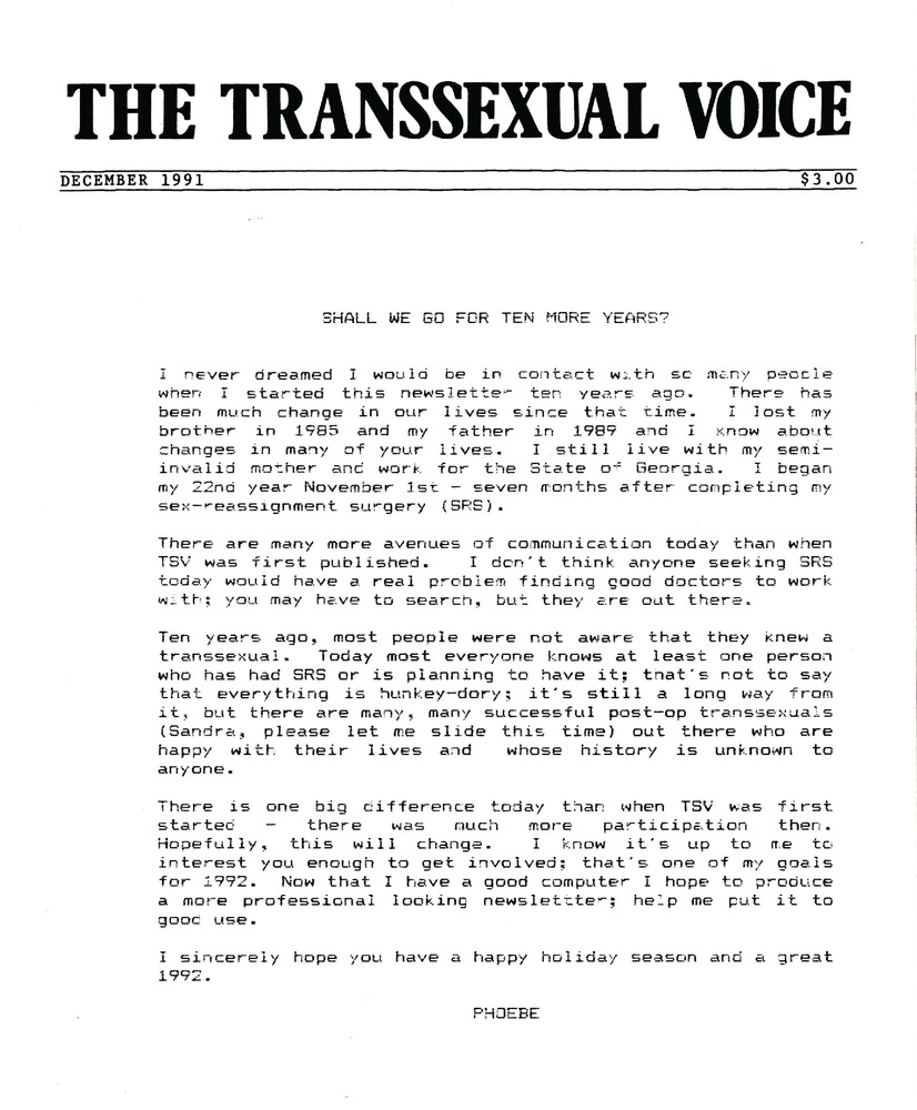 Download the full-sized PDF of The Transsexual Voice (December 1991)