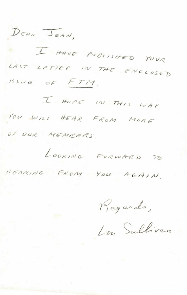 Download the full-sized PDF of Correspondence from Lou Sullivan to Jean Aarle