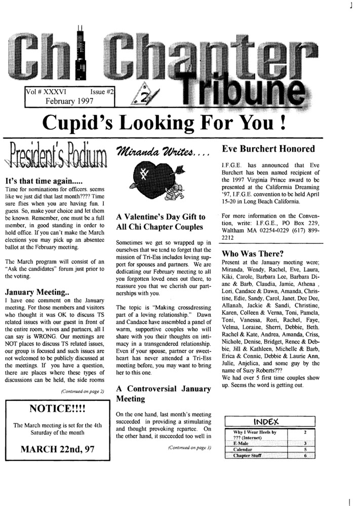 Download the full-sized PDF of Chi Chapter Tribune Vol. 36 Iss. 02 (February, 1997)