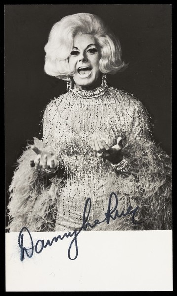 Download the full-sized image of Danny La Rue in drag. Photograph, 196-.