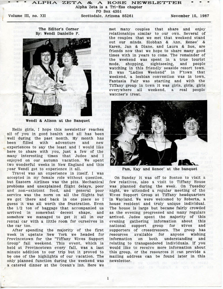 Download the full-sized PDF of Alpha Zeta & A Rose Newsletter Vol. 3 No. 12 (November 15, 1987)