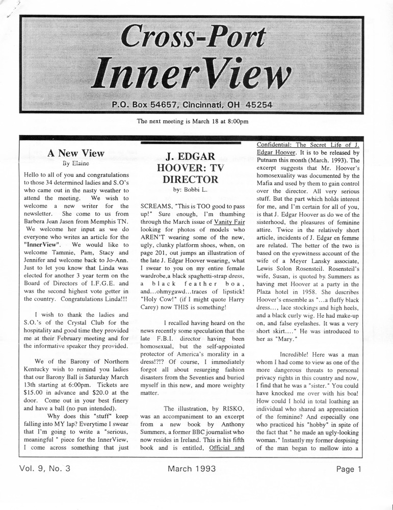 Download the full-sized PDF of Cross-Port InnerView, Vol. 9 No. 3 (March, 1993)
