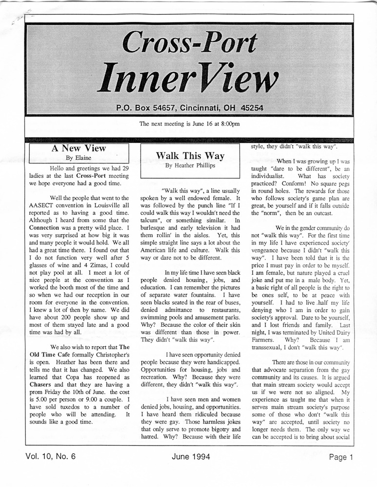 Download the full-sized PDF of Cross-Port InnerView, Vol. 10 No. 6 (June, 1994)