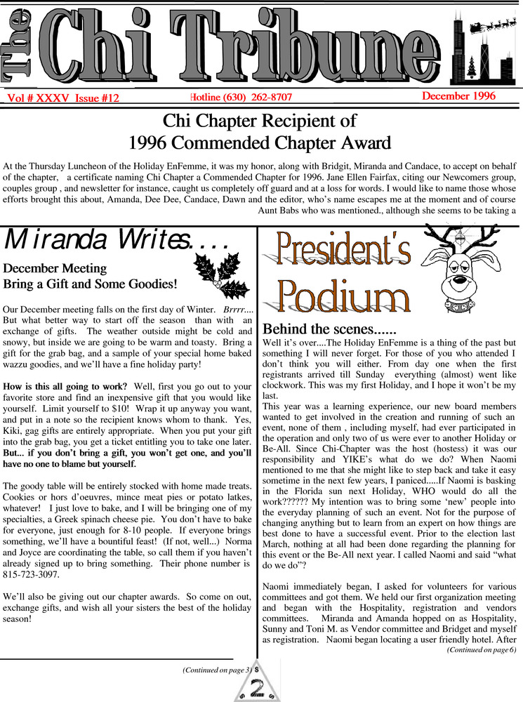 Download the full-sized PDF of The Chi Tribune Vol. 35 Iss. 12 (December, 1996)