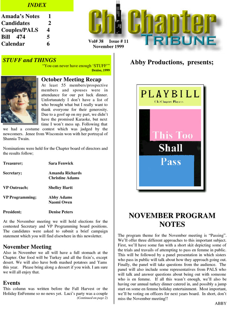 Download the full-sized PDF of Chi Chapter Tribune Vol. 38 Iss. 11 (November, 1999)