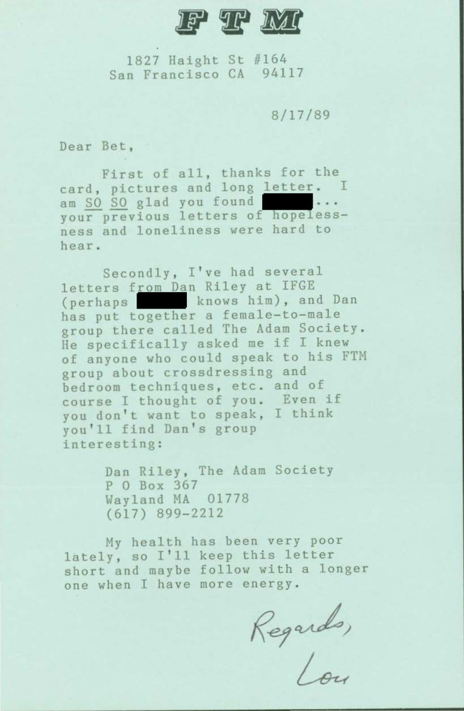 Download the full-sized PDF of Letter from Lou Sullivan to Bet Power (August 17, 1989)