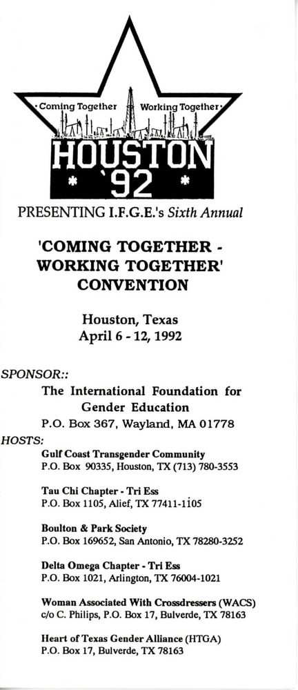 Download the full-sized PDF of Coming Together - Working Together Convention Brochure (Apr. 6-12, 1992)