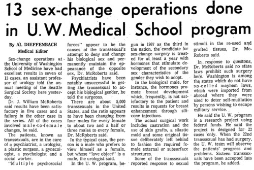 Download the full-sized image of 13 sex- change operations done in U.W. Medical School program