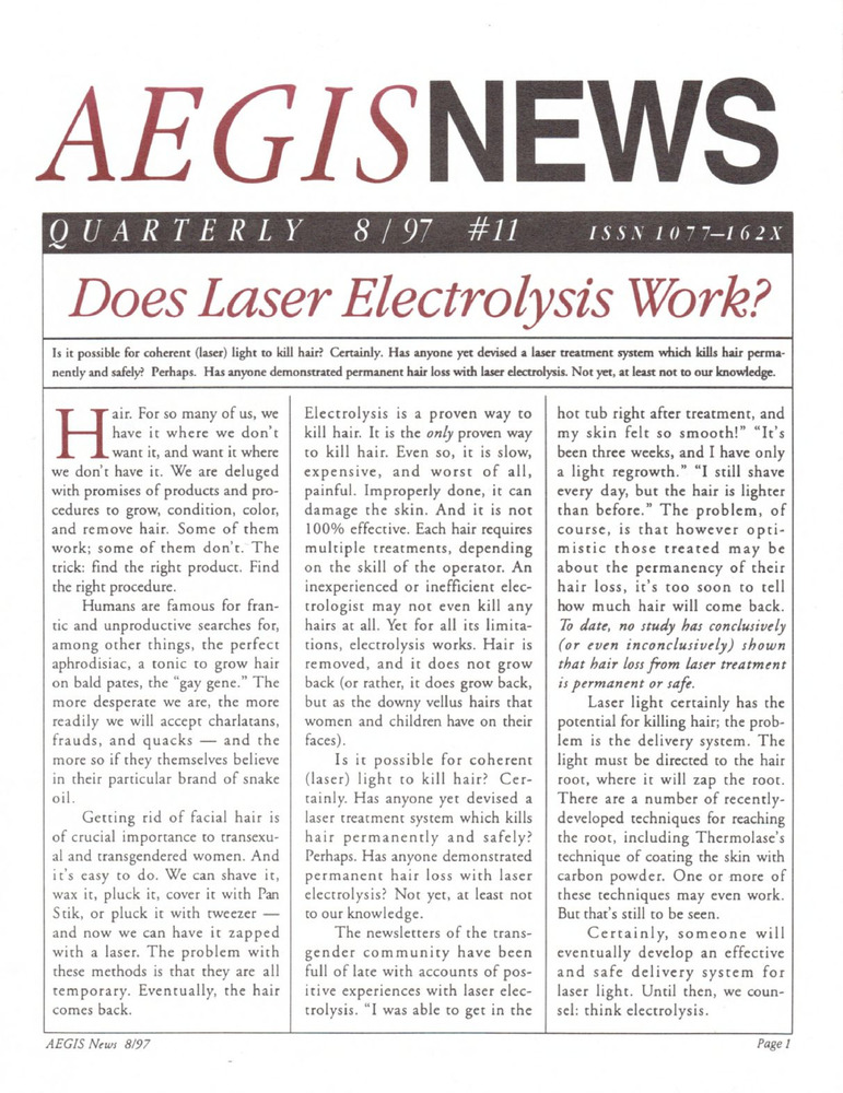 Download the full-sized PDF of AEGIS News, No. 11 (August, 1997)