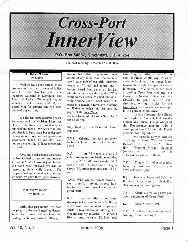 Download the full-sized PDF of Cross-Port InnerView, Vol. 10 No. 3 (March, 1994)