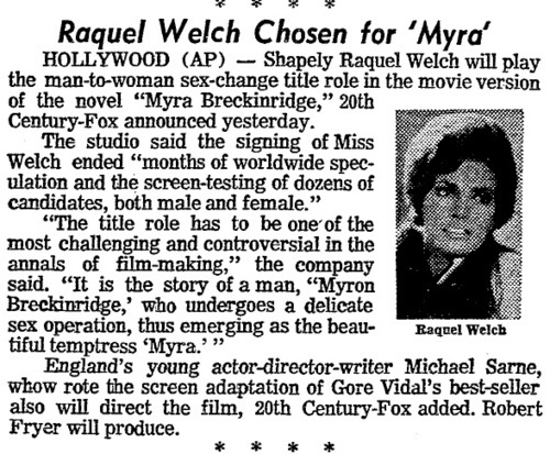 Download the full-sized image of Raquel Welch Chosen for 'Myra'