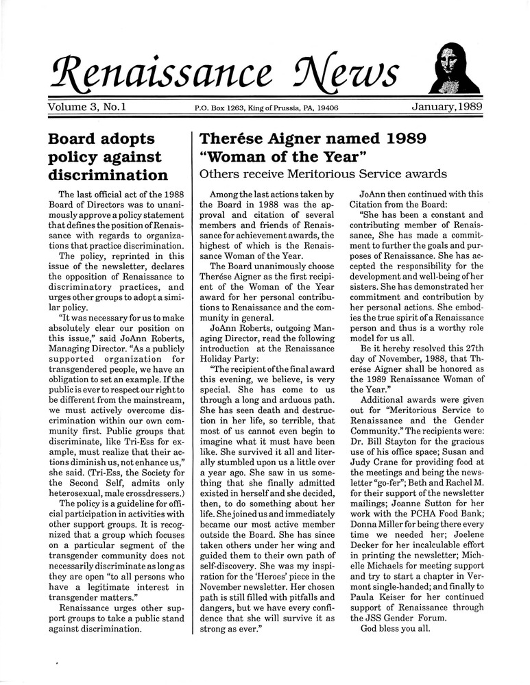Download the full-sized PDF of Renaissance News, Vol. 3 No. 1 (January 1989)
