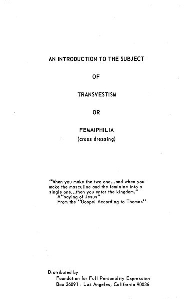 Download the full-sized image of An Introduction to the Subject of Transvestism or Femmiphilia (cross dressing)