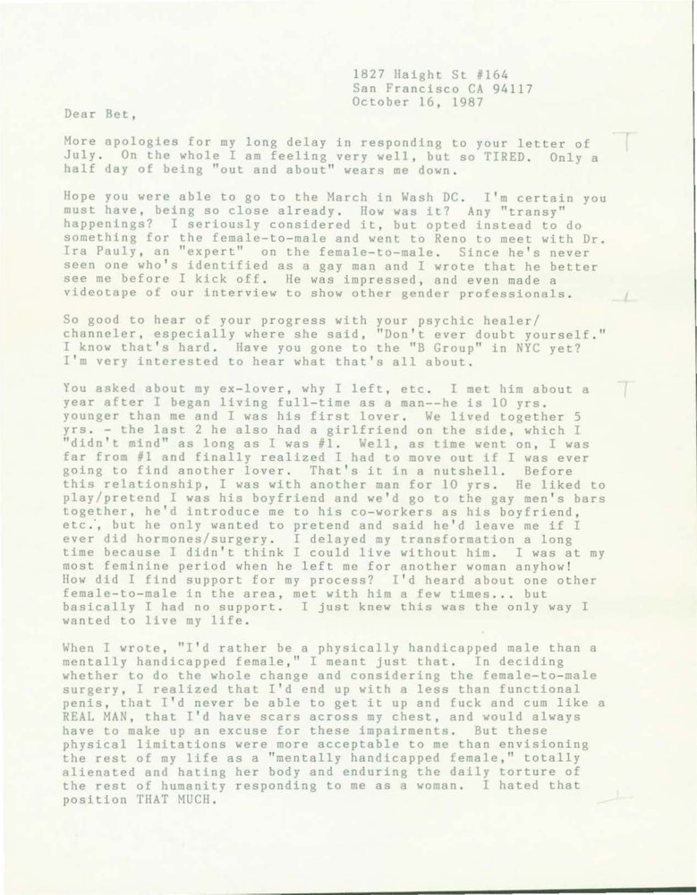 Download the full-sized PDF of Letter from Lou Sullivan to Bet Power (October 16, 1987)