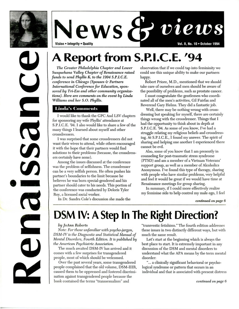 Download the full-sized PDF of Renaissance News & Views, Vol 8. No. 10 (October 1994)