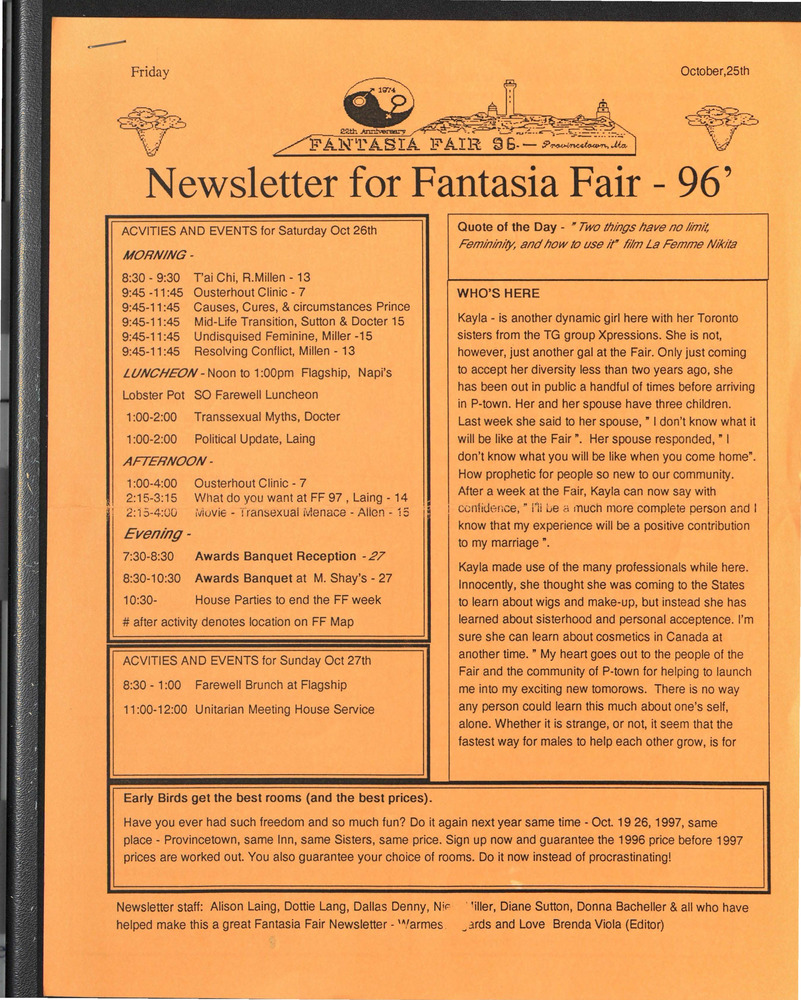 Download the full-sized PDF of Newsletter for Fantasia Fair - 96' (October 25, 1996)