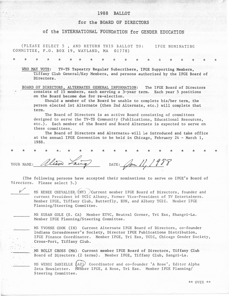 Download the full-sized PDF of 1988 Ballot for the Board of Directors of the International Foundation for Gender Education